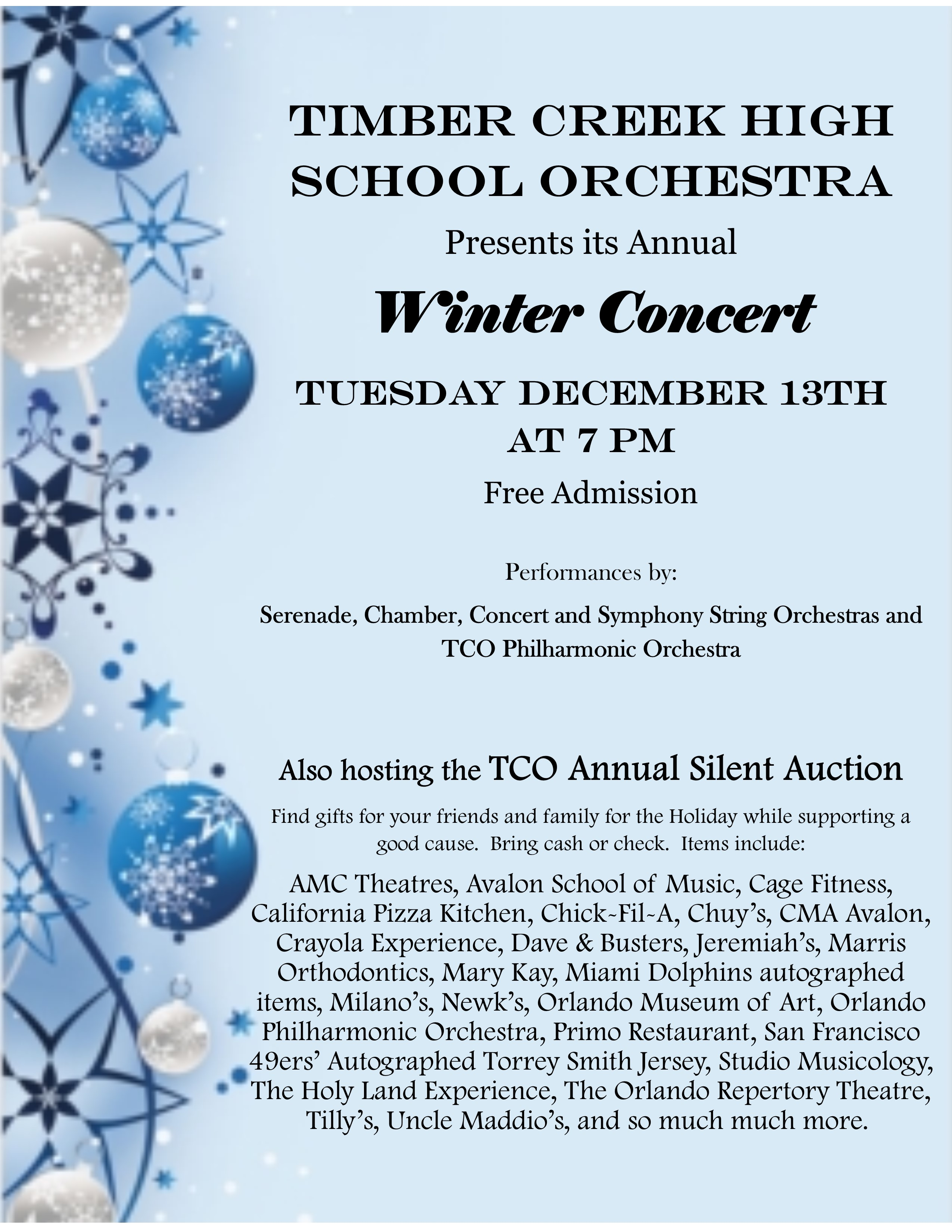 Orchestra Concert Tonight! – Timber Creek HS Performing Arts